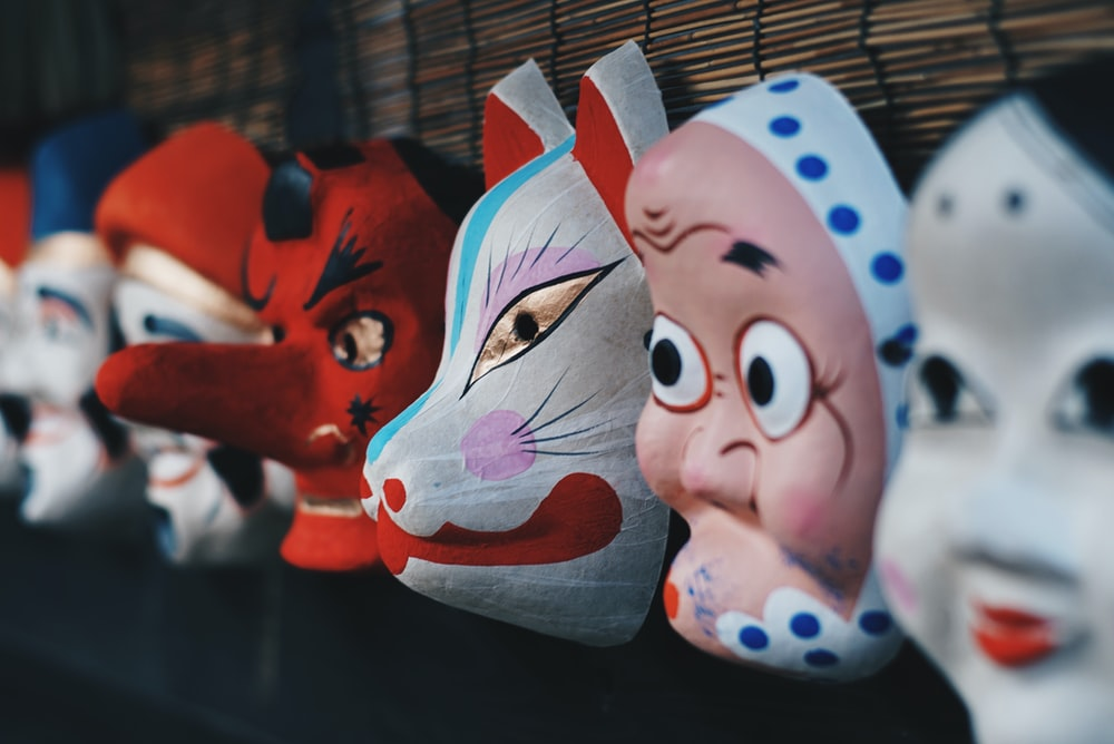 assorted mask wall decor