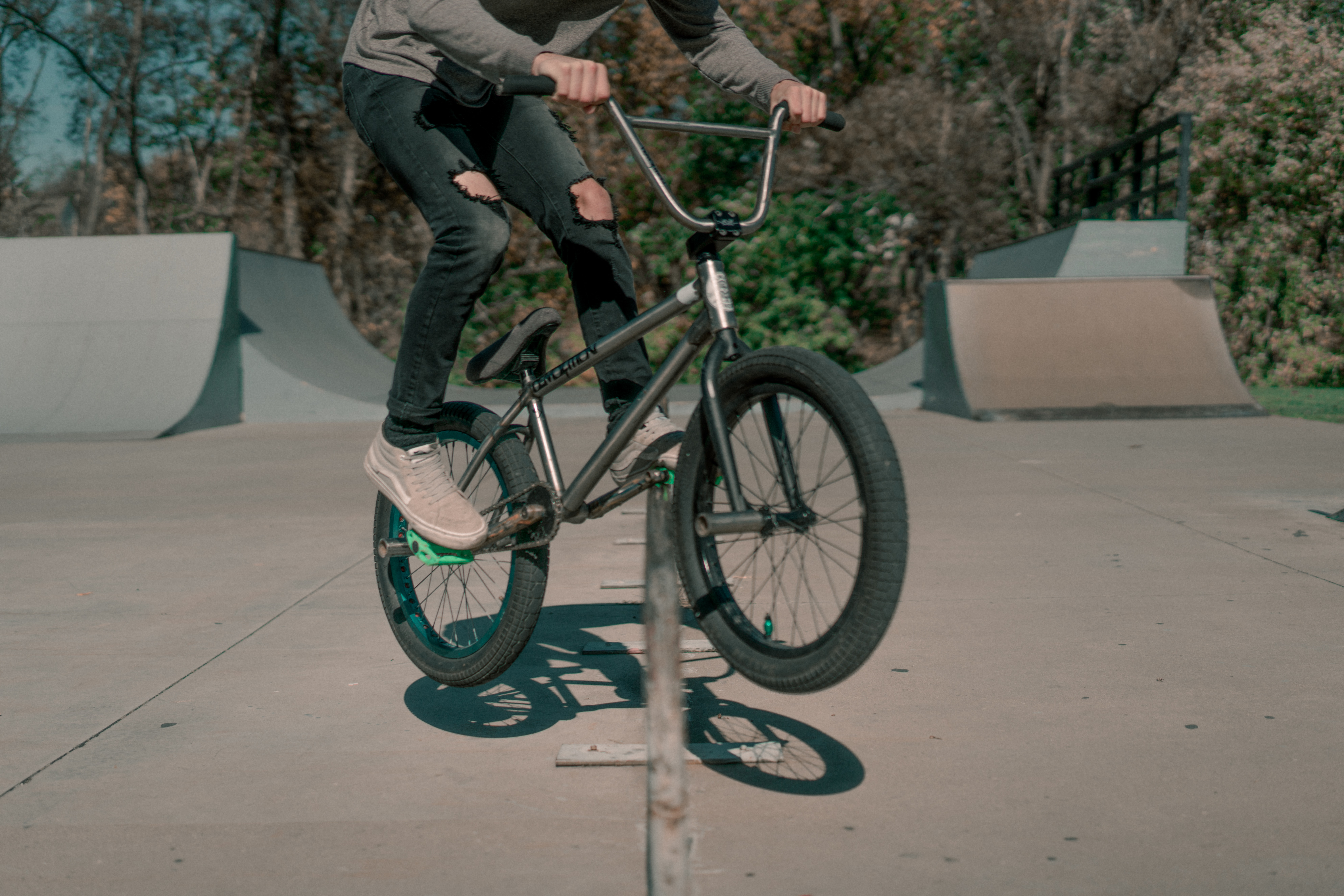 person performing BMX trick