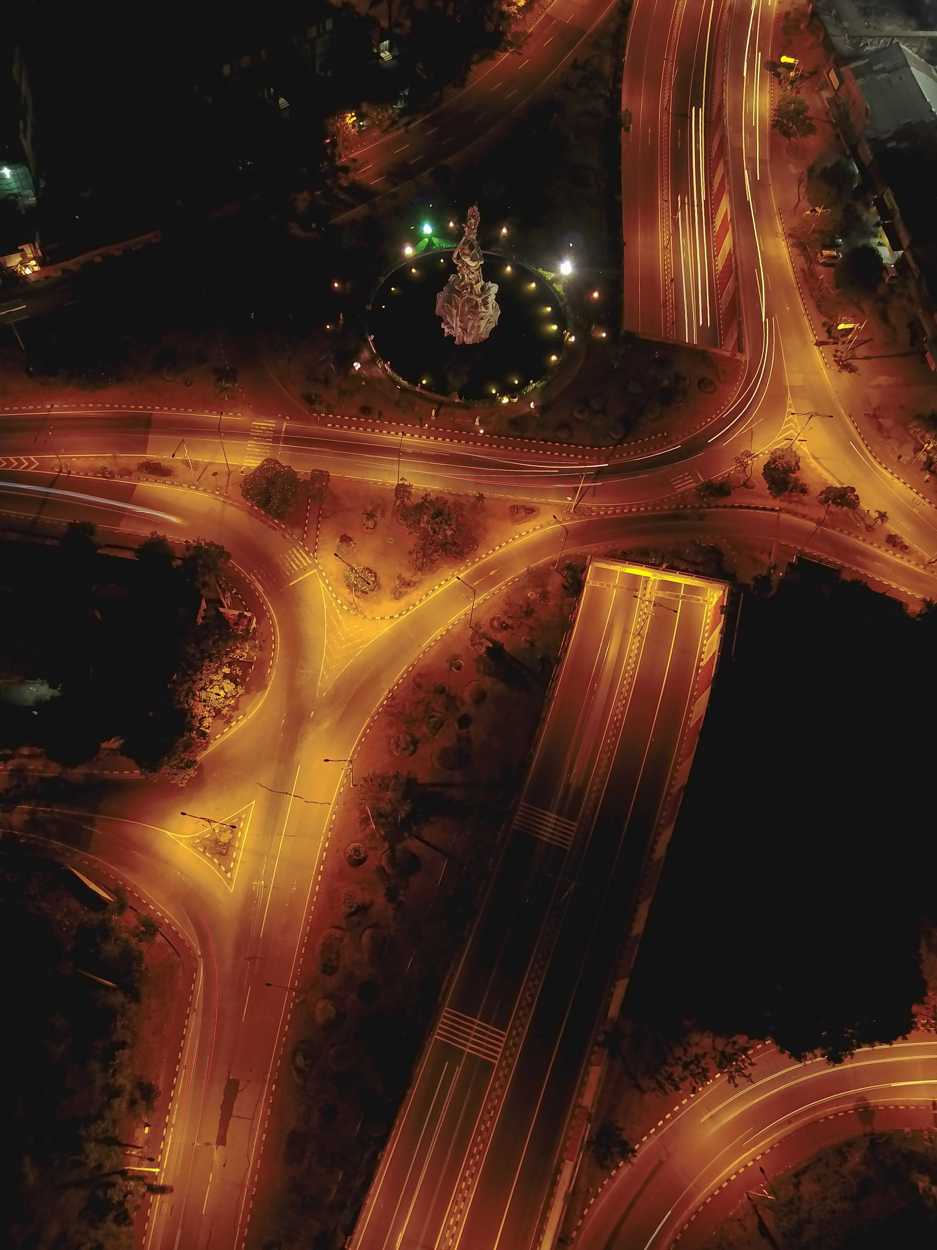 aerial timelapse photography of road