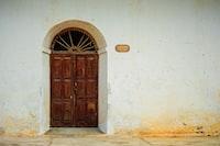 brown wooden door frames
