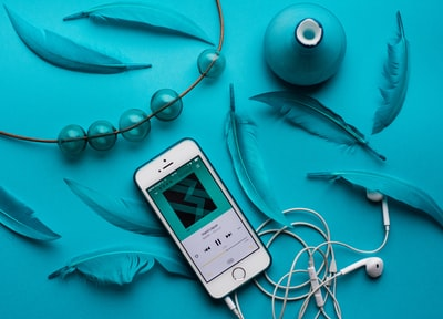 iPhone with EarPods beside feathers