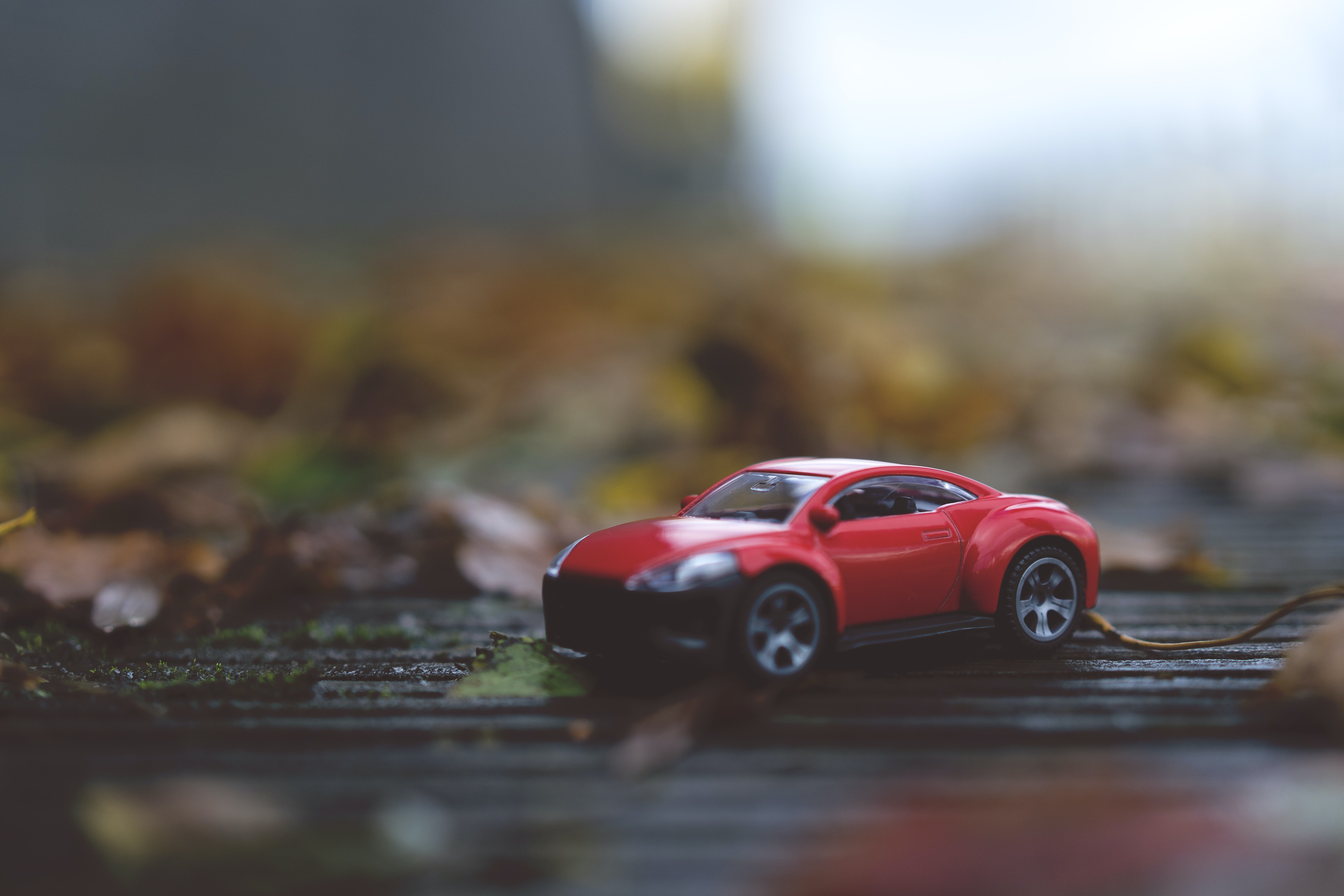 selective focus photography of red die cast toy car