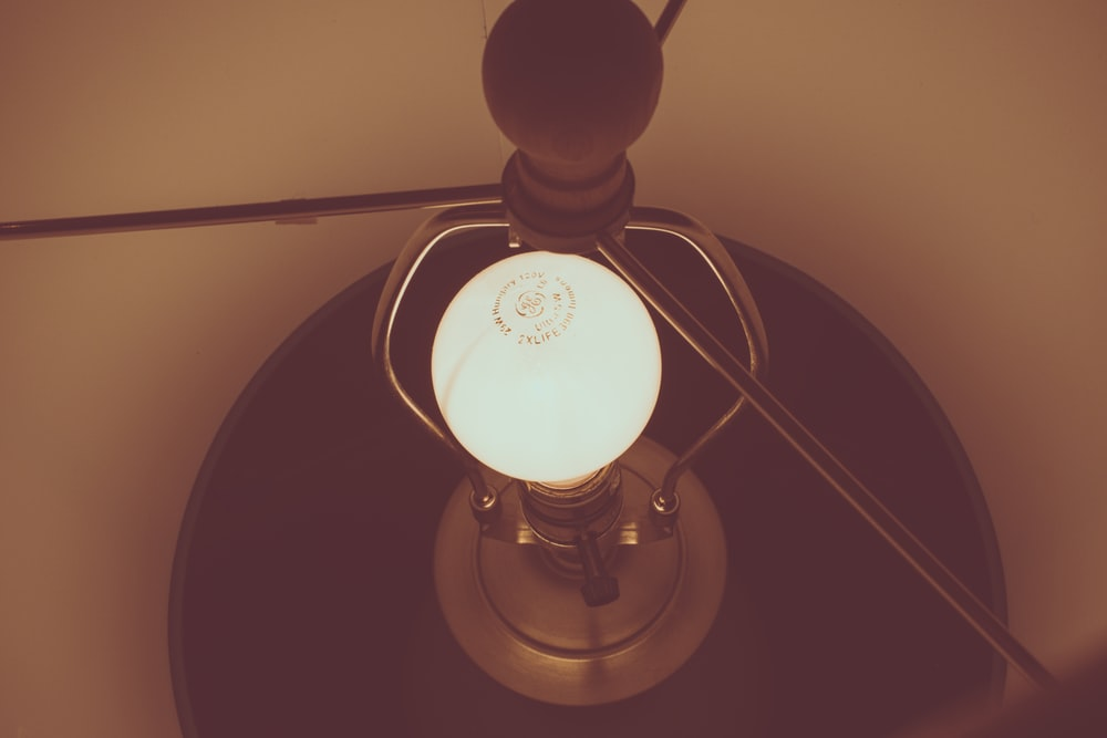 turned on table lamp