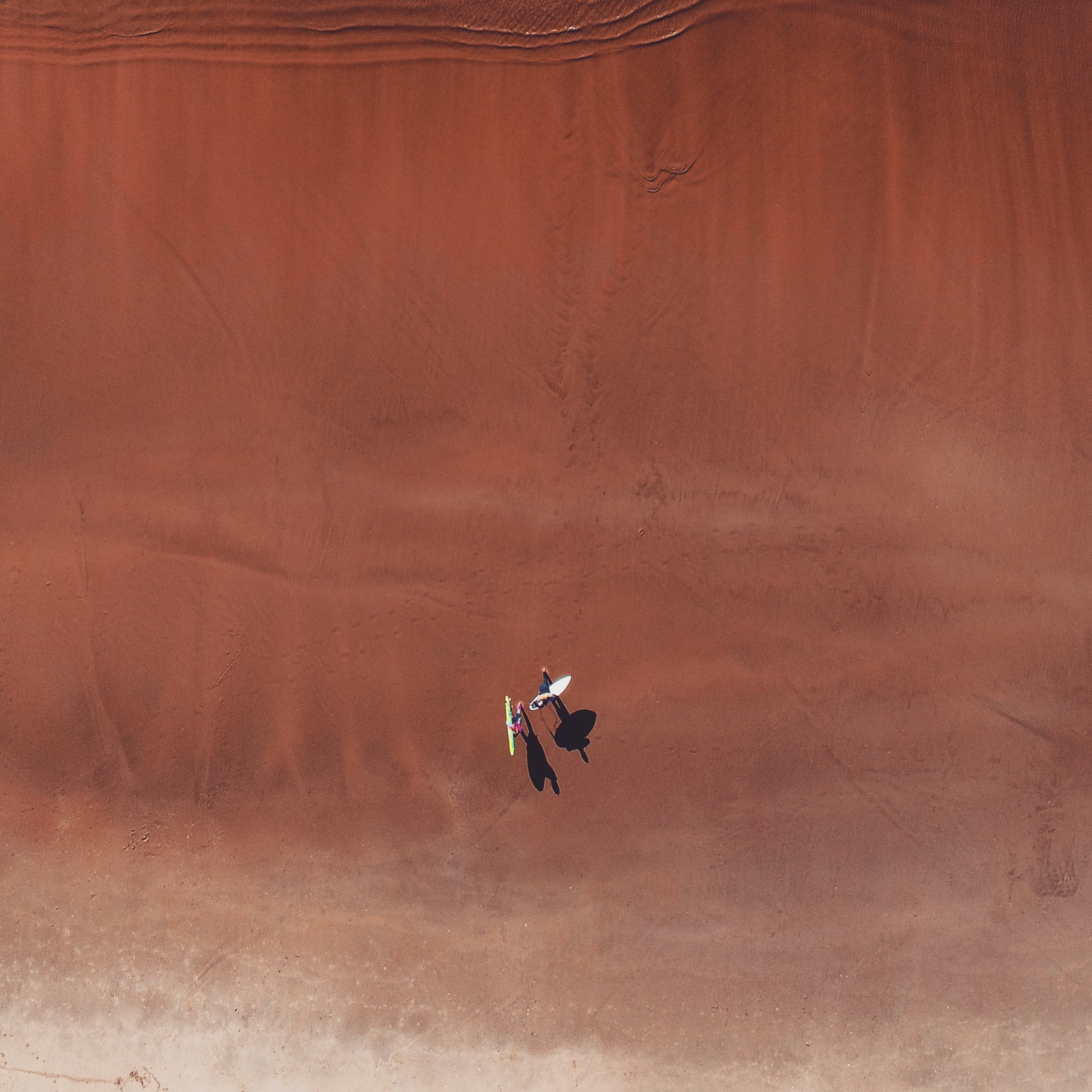 aerial photo of two person in desert