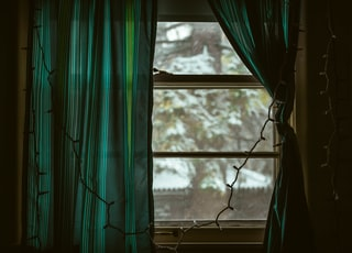 curtain at window with string lights
