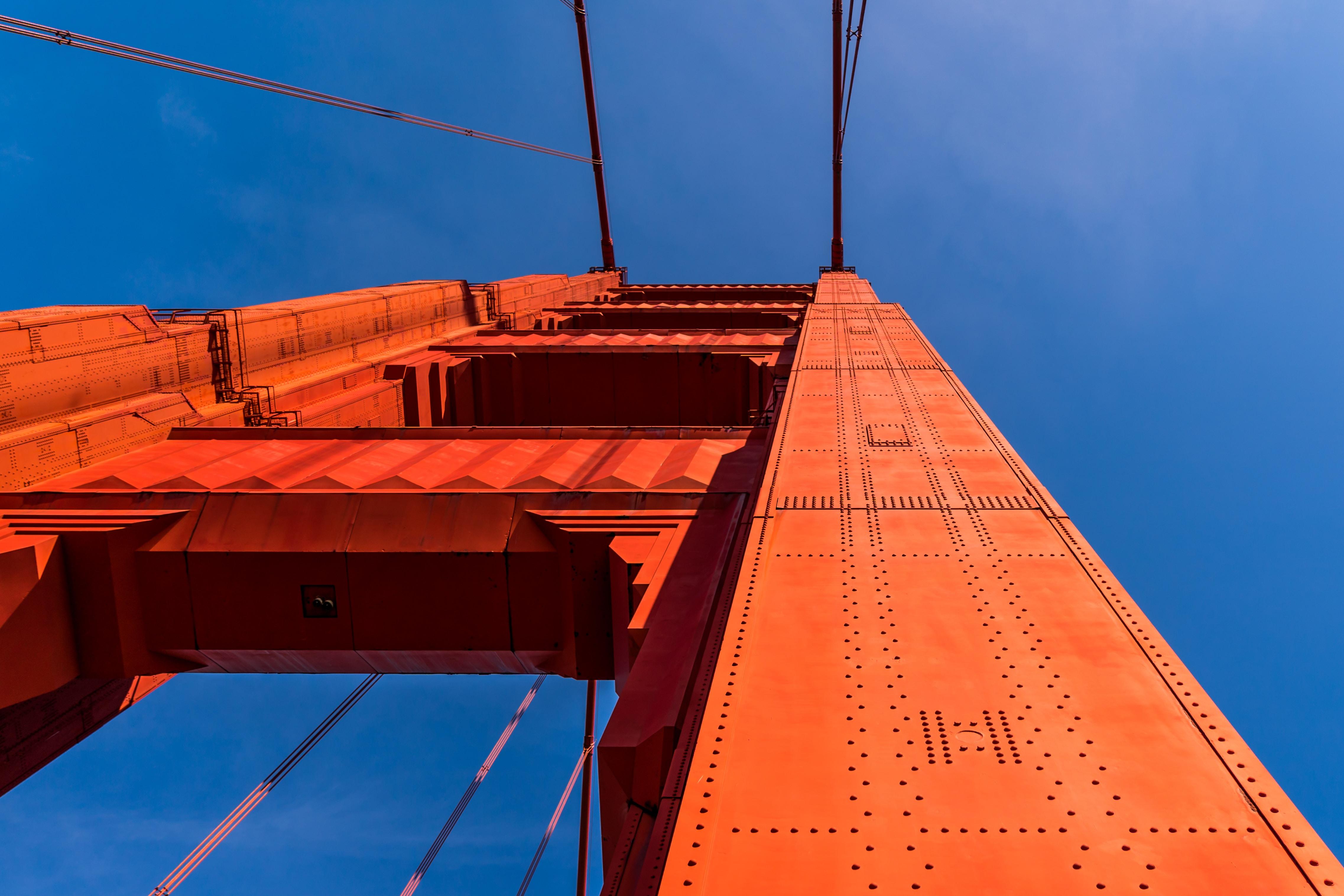 low angle photography of bridge wall