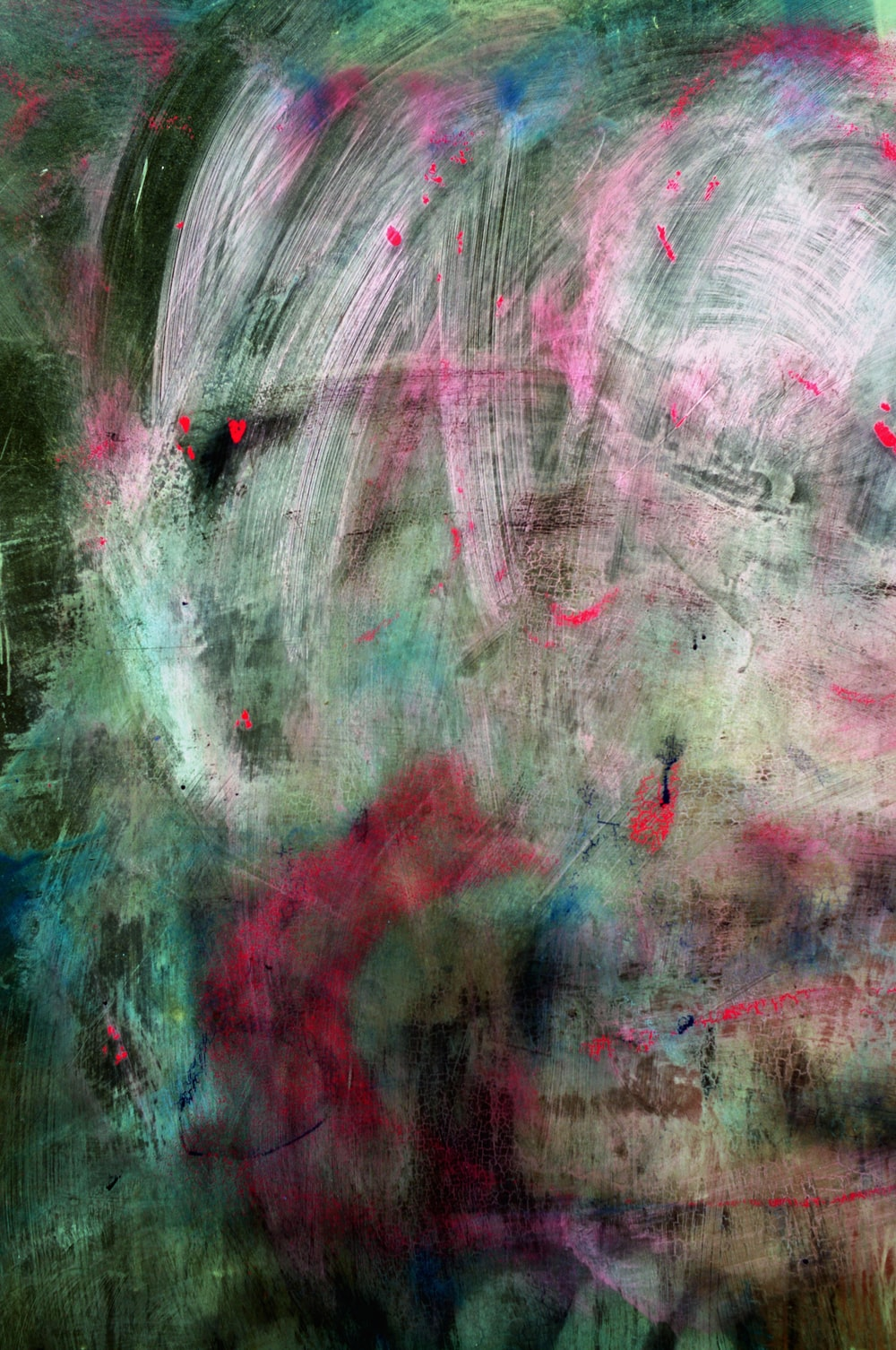 green, pink, and white abstract painting with brush strokes