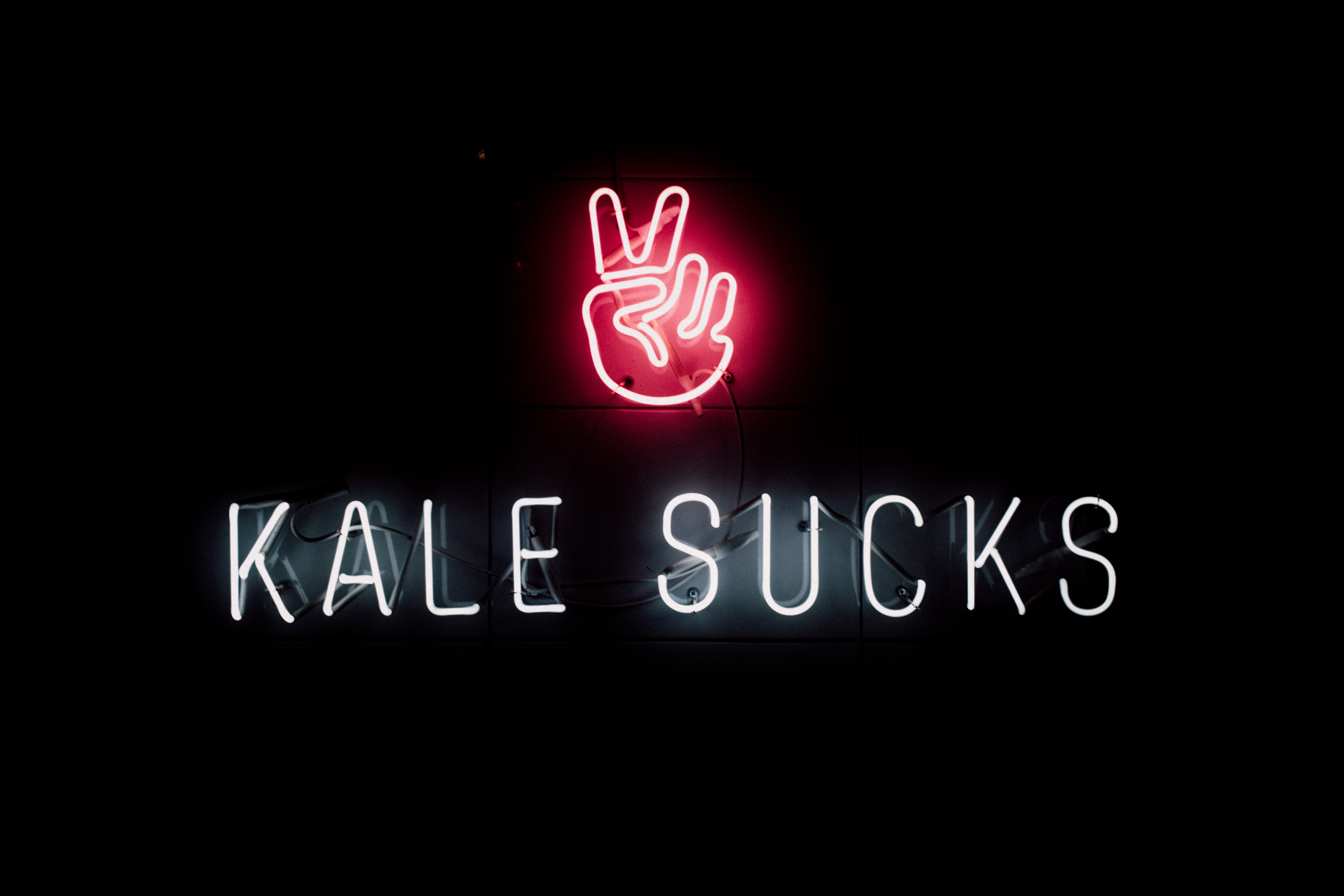 Kale Sucks neon sign