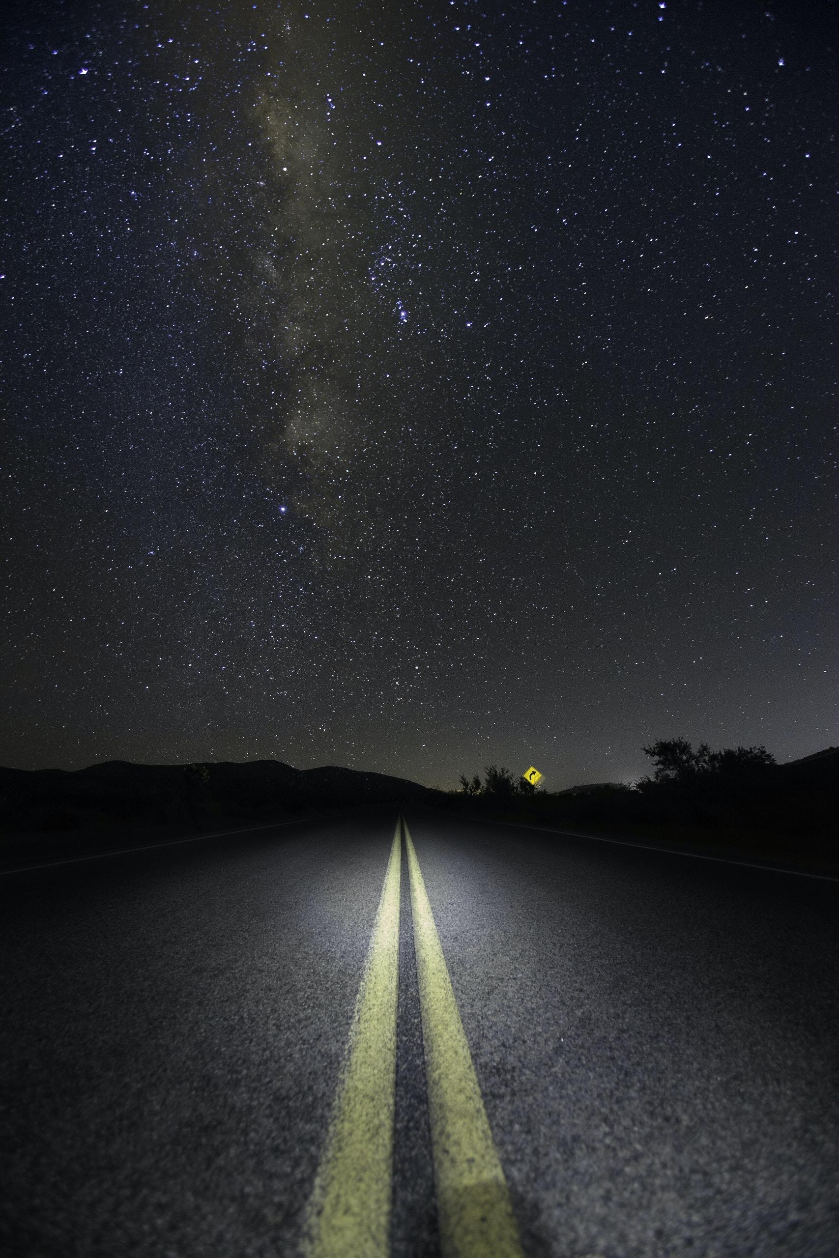road under Milky Way Galaxy