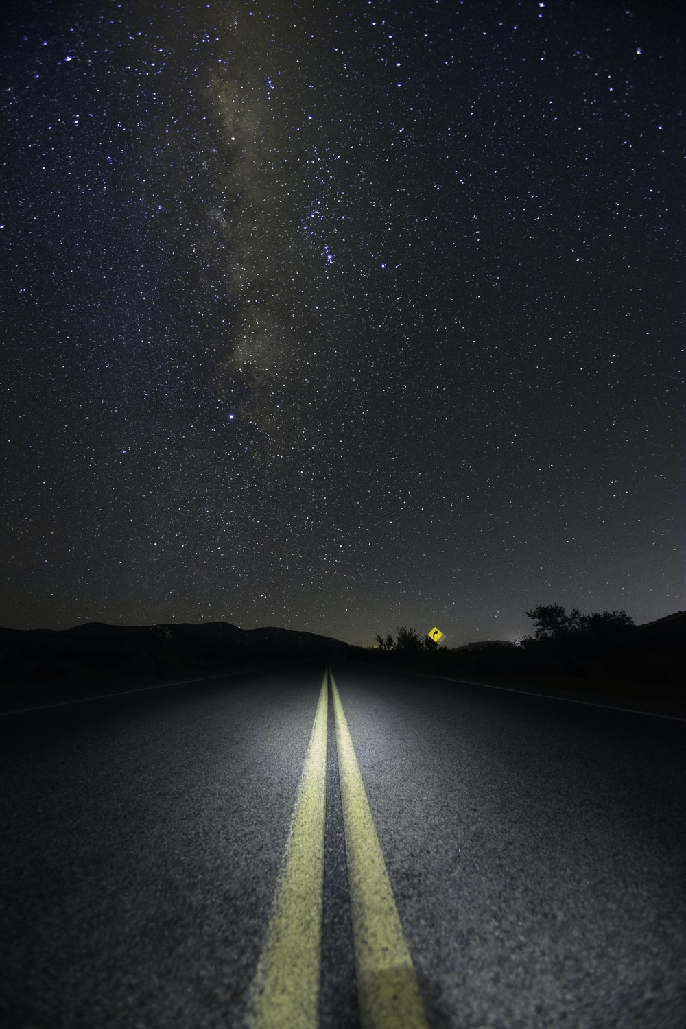 road under Milky Way Galaxy