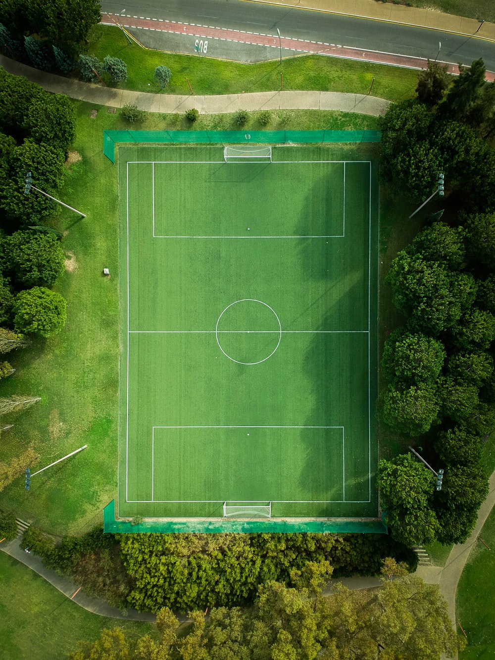 aerial photography of football field