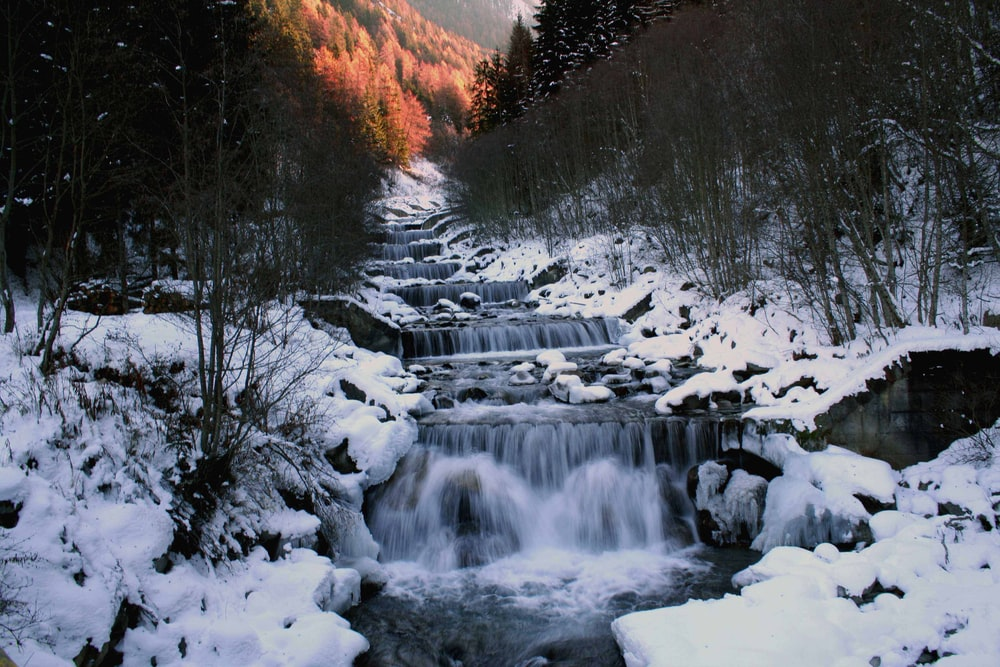 waterfalls between leafless trees and ground covered with snow
