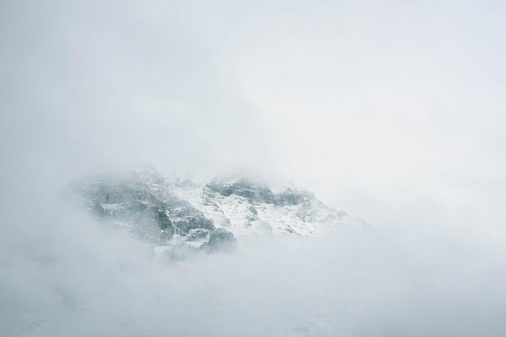 landscape foggy snowy mountain