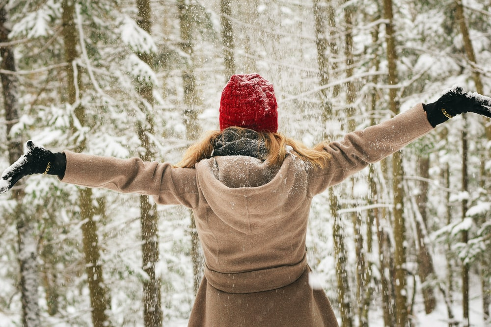 woman wearing hoodie spreading her arm near trees with snows