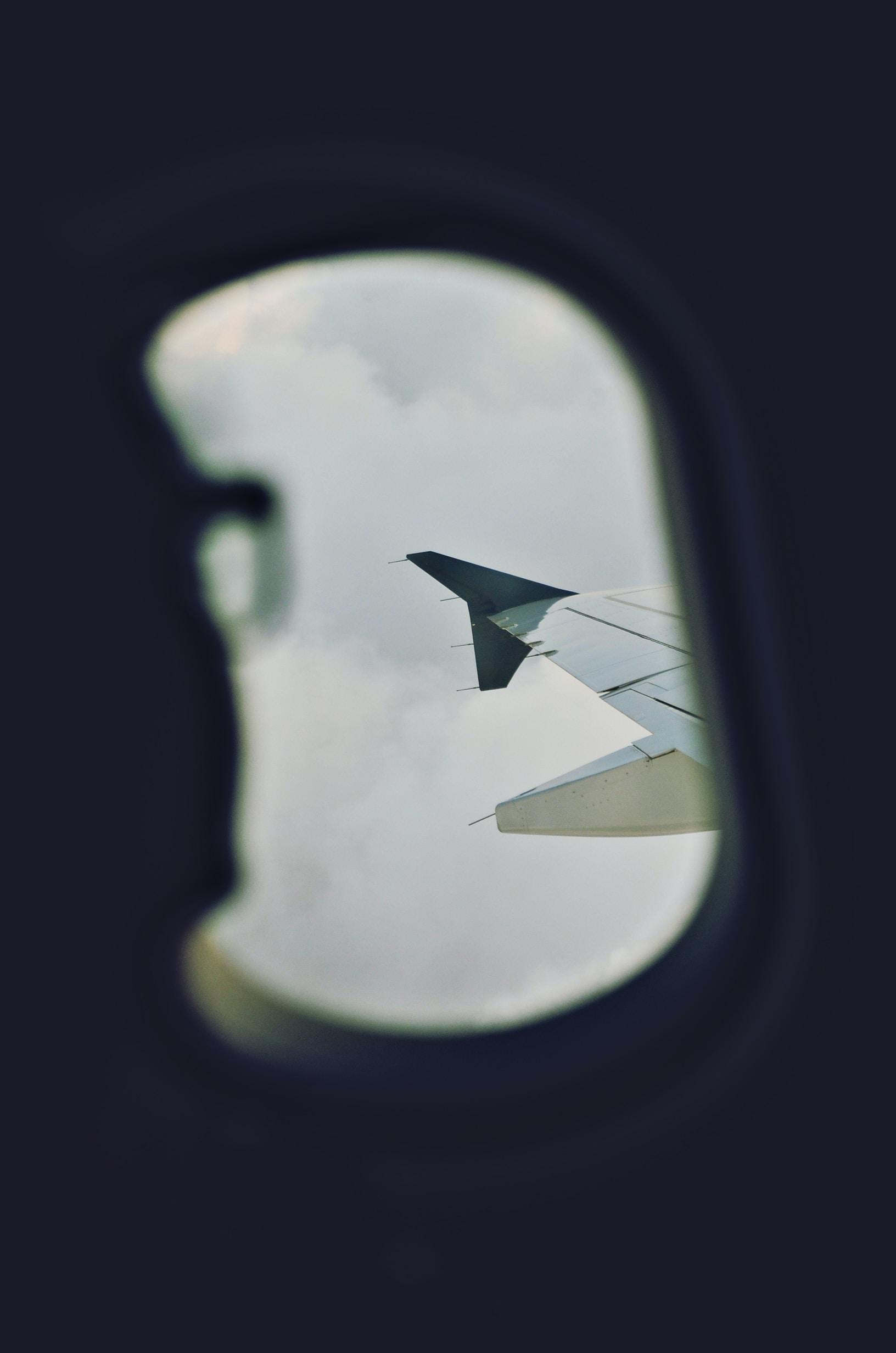 passenger view of airplane window