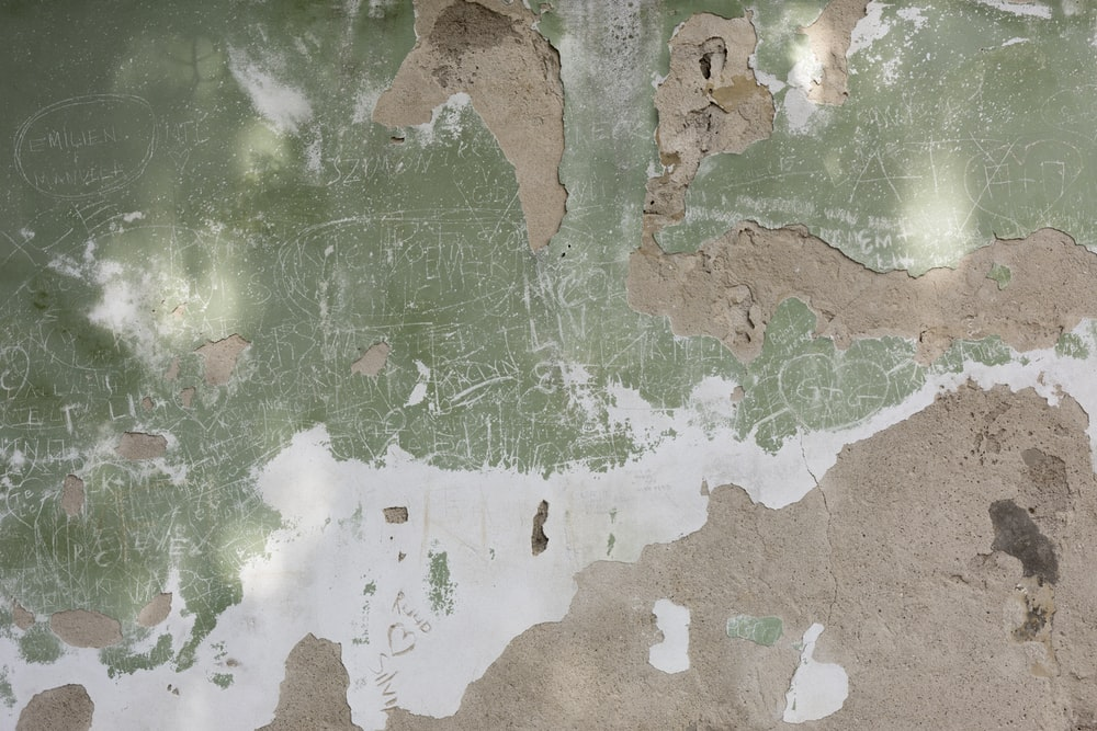 green, white, and brown surface