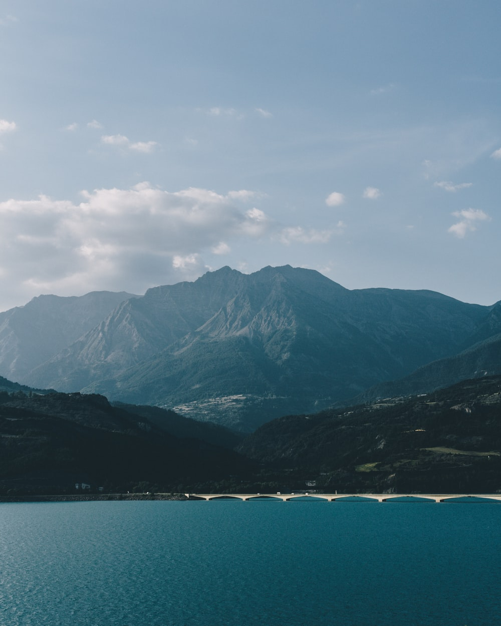 body of water and mountain