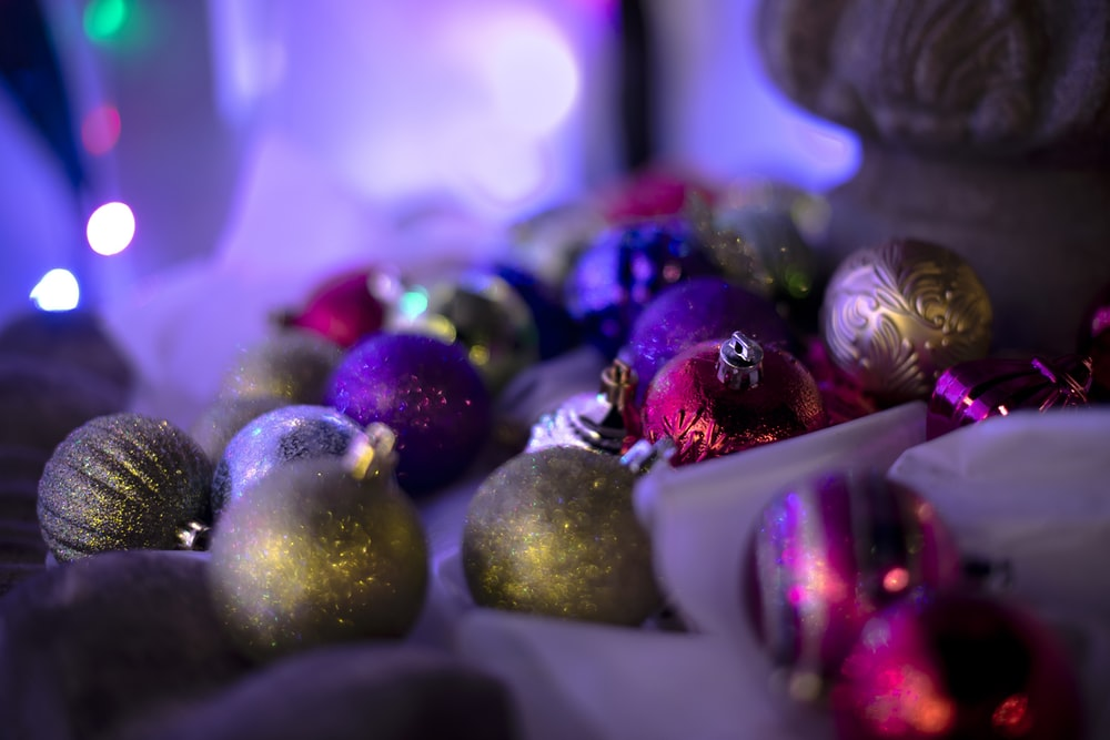 assorted Christmas baubles