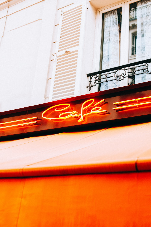 Cafe neon light signage