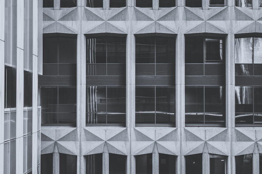 grayscale photography of architectural building