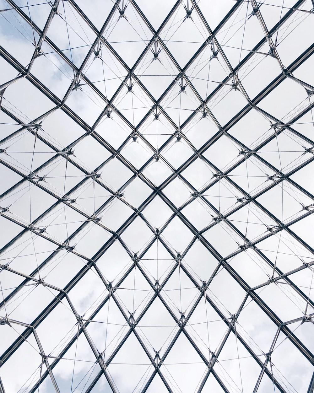 low-angle photo of gray metal frame