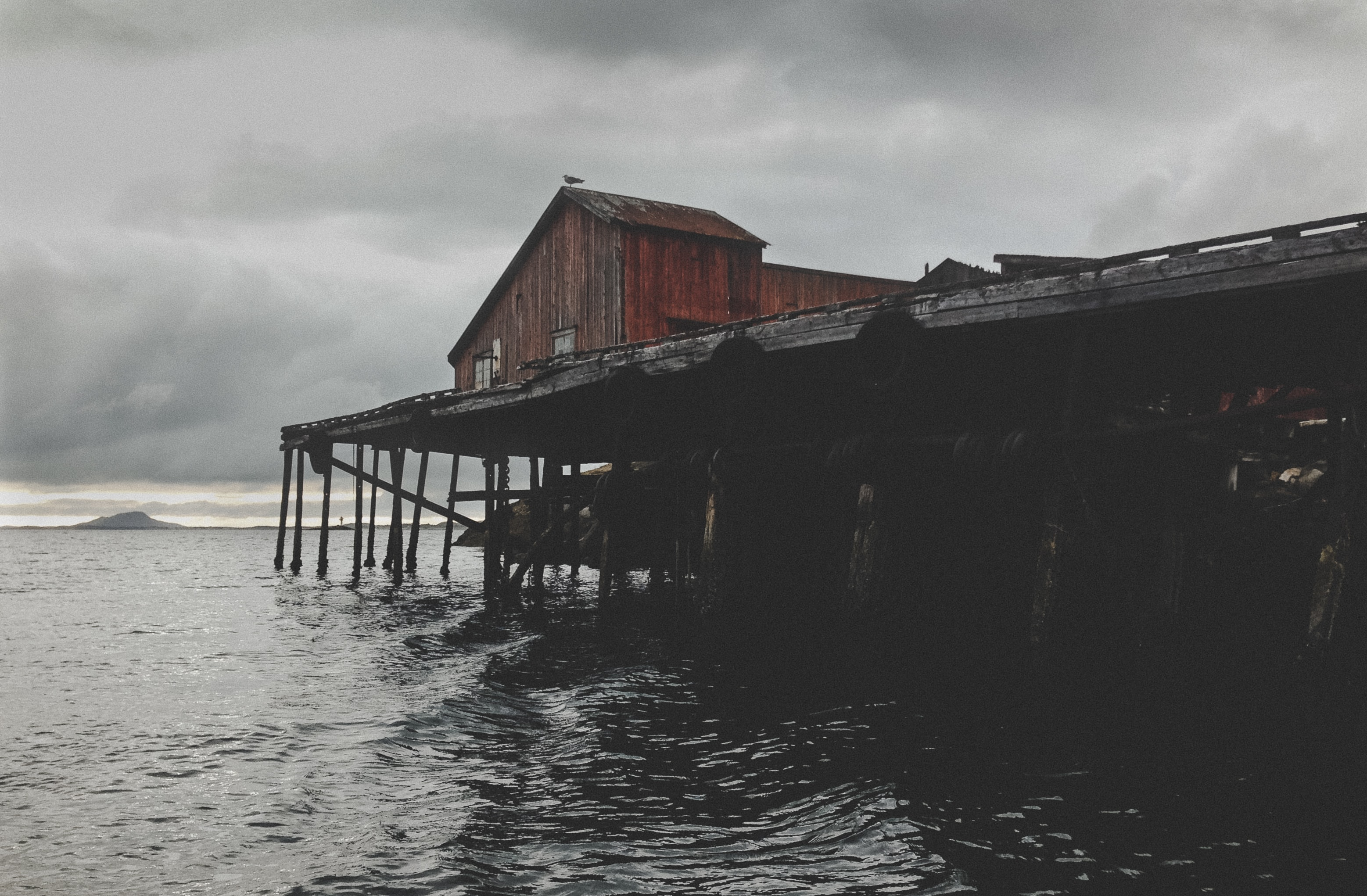 brown wooden house above water