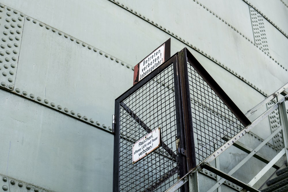 brown steel ladder