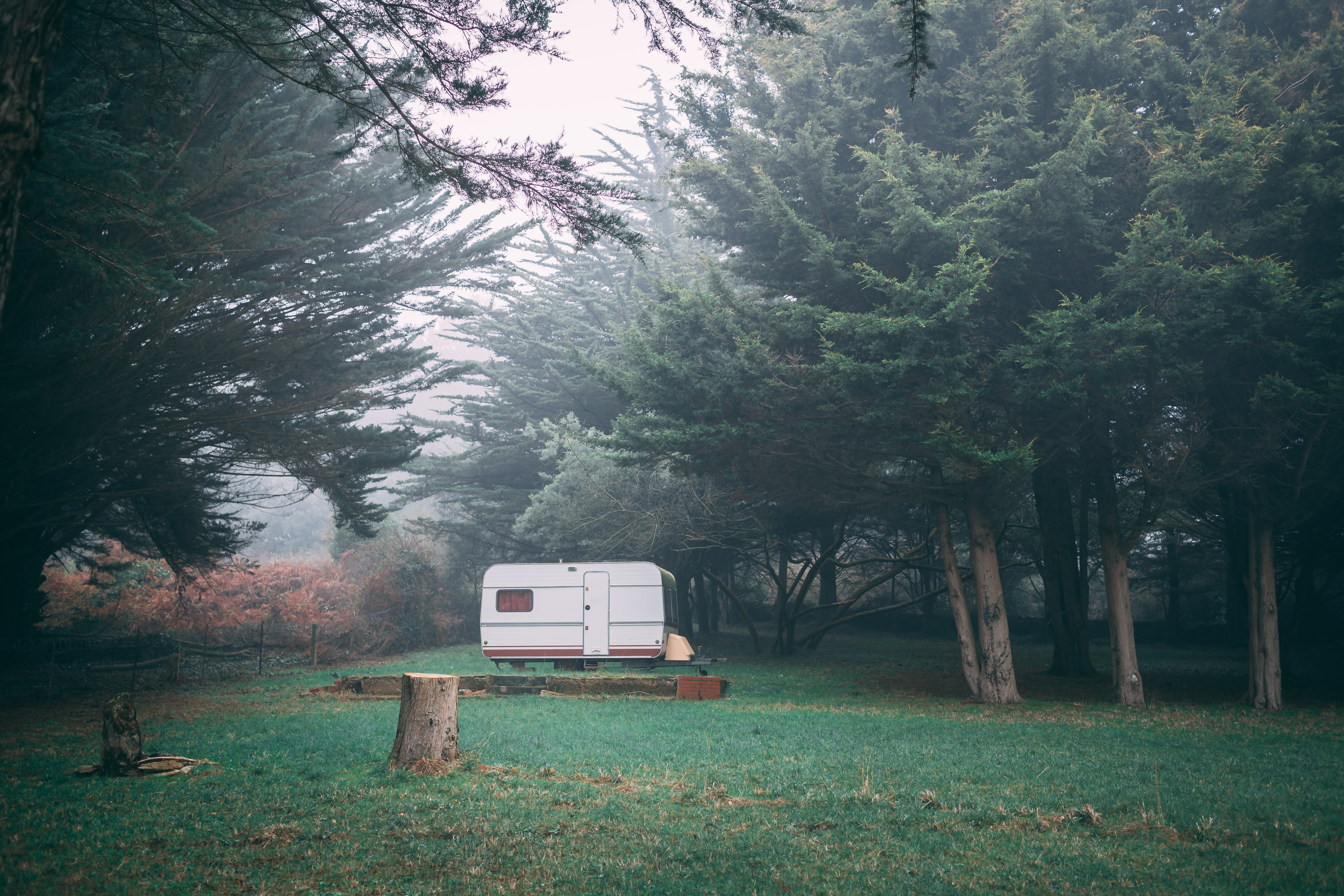 photo of white travel trailer near green leafed trees with fog