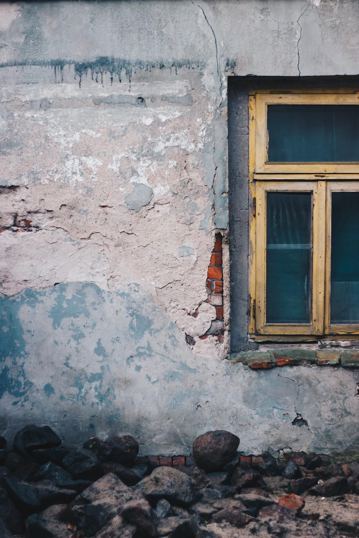 yellow wooden close window