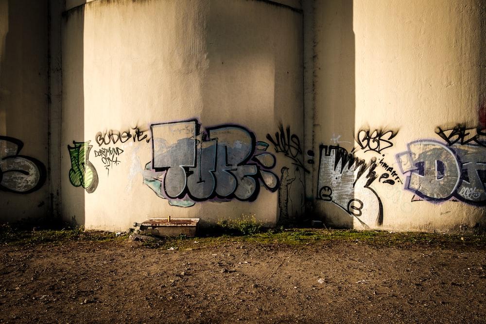 several assorted-design graffiti design