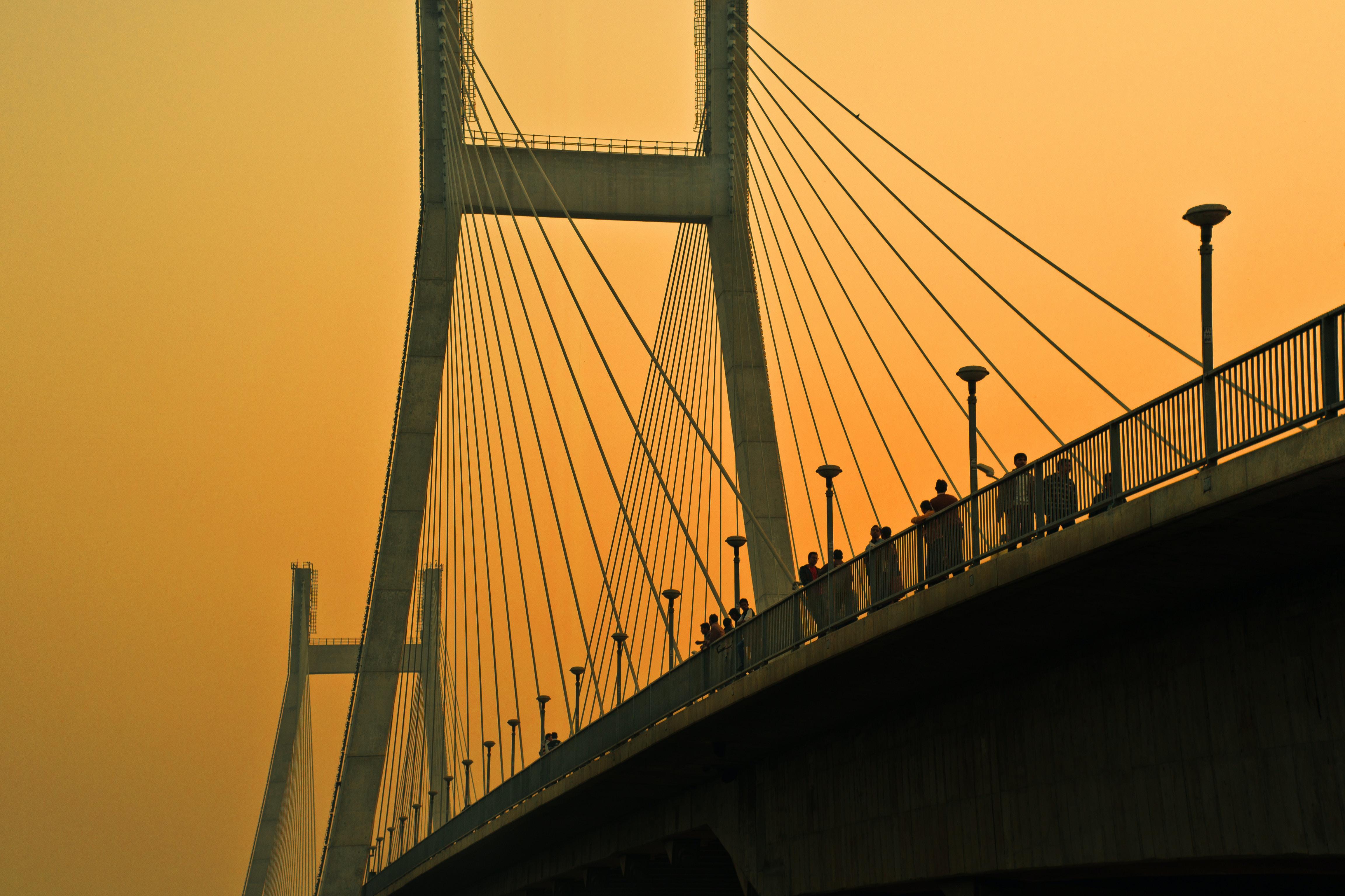 concrete bridge during dawn