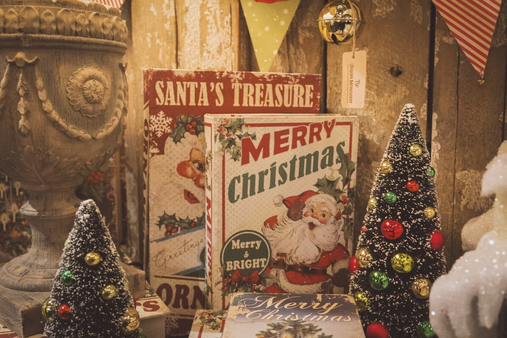 Santa's Treasure and Merry Christmas signage boards