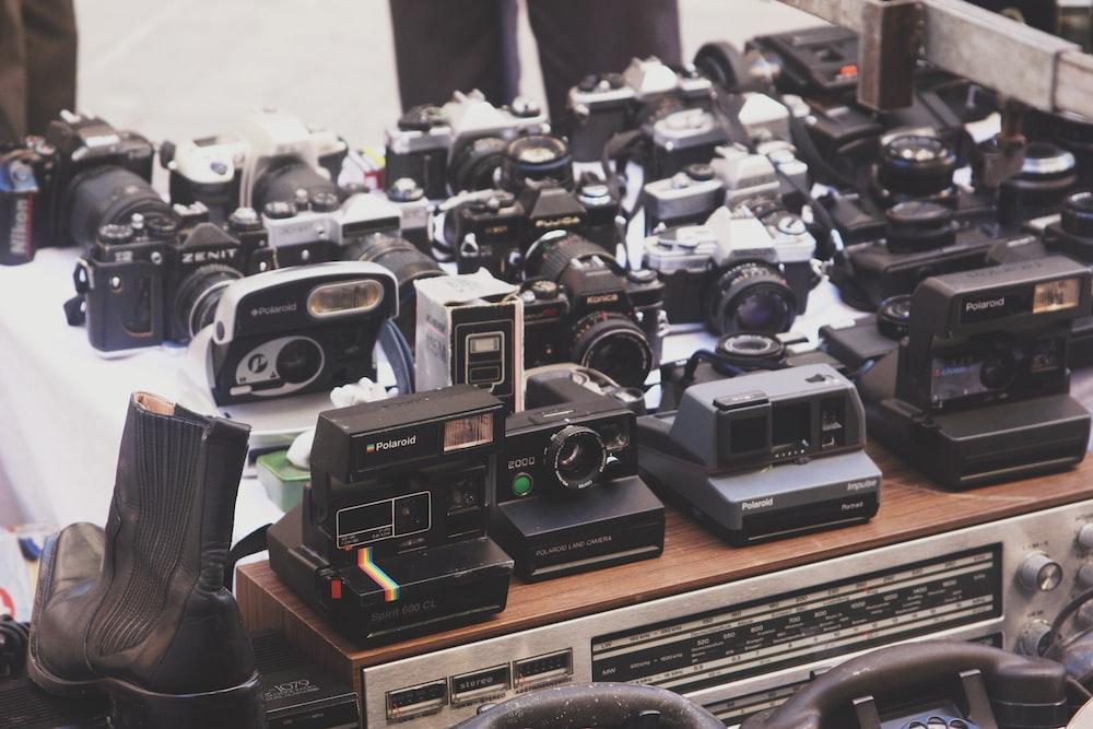 white and black camera lot