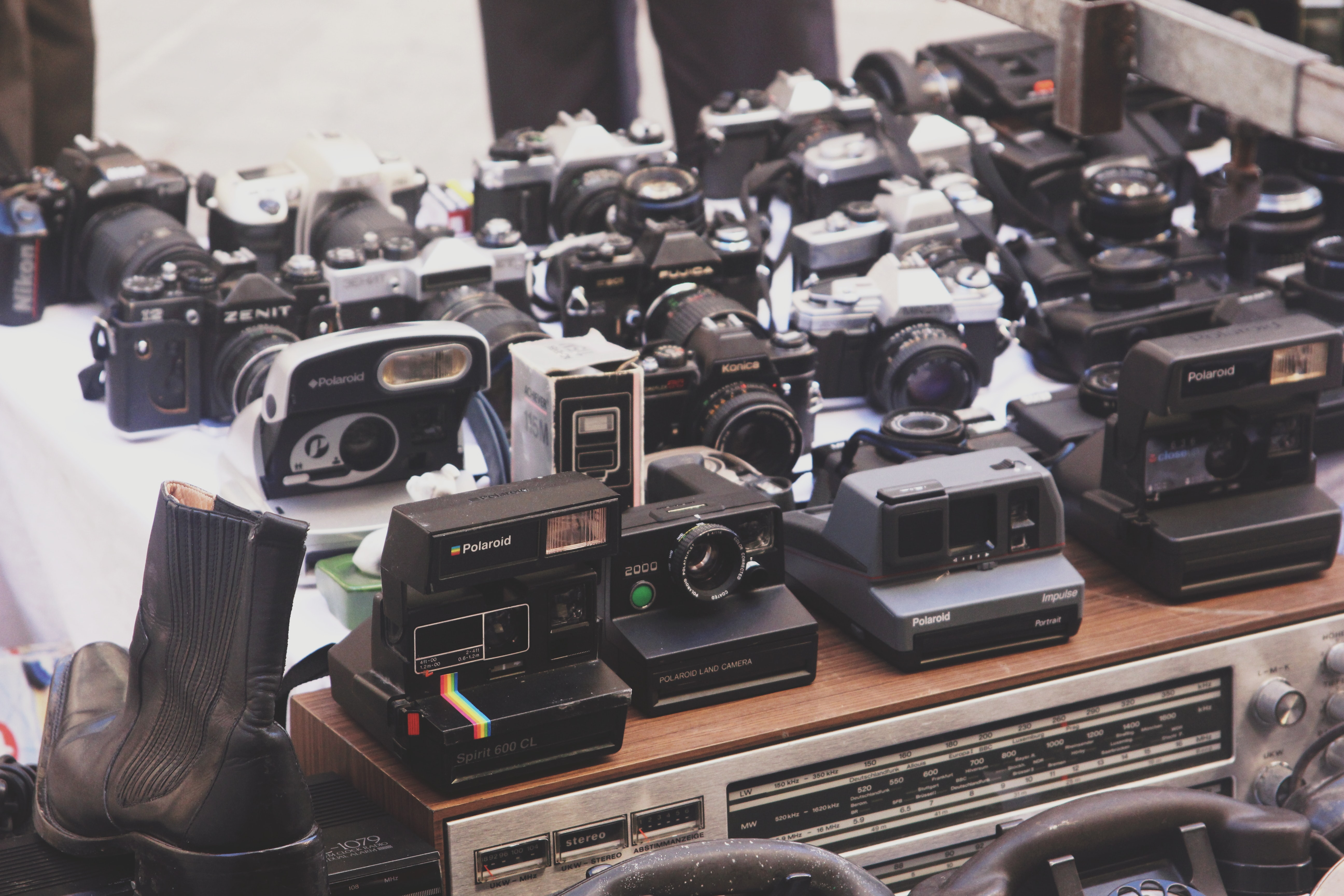 white and black camera lot