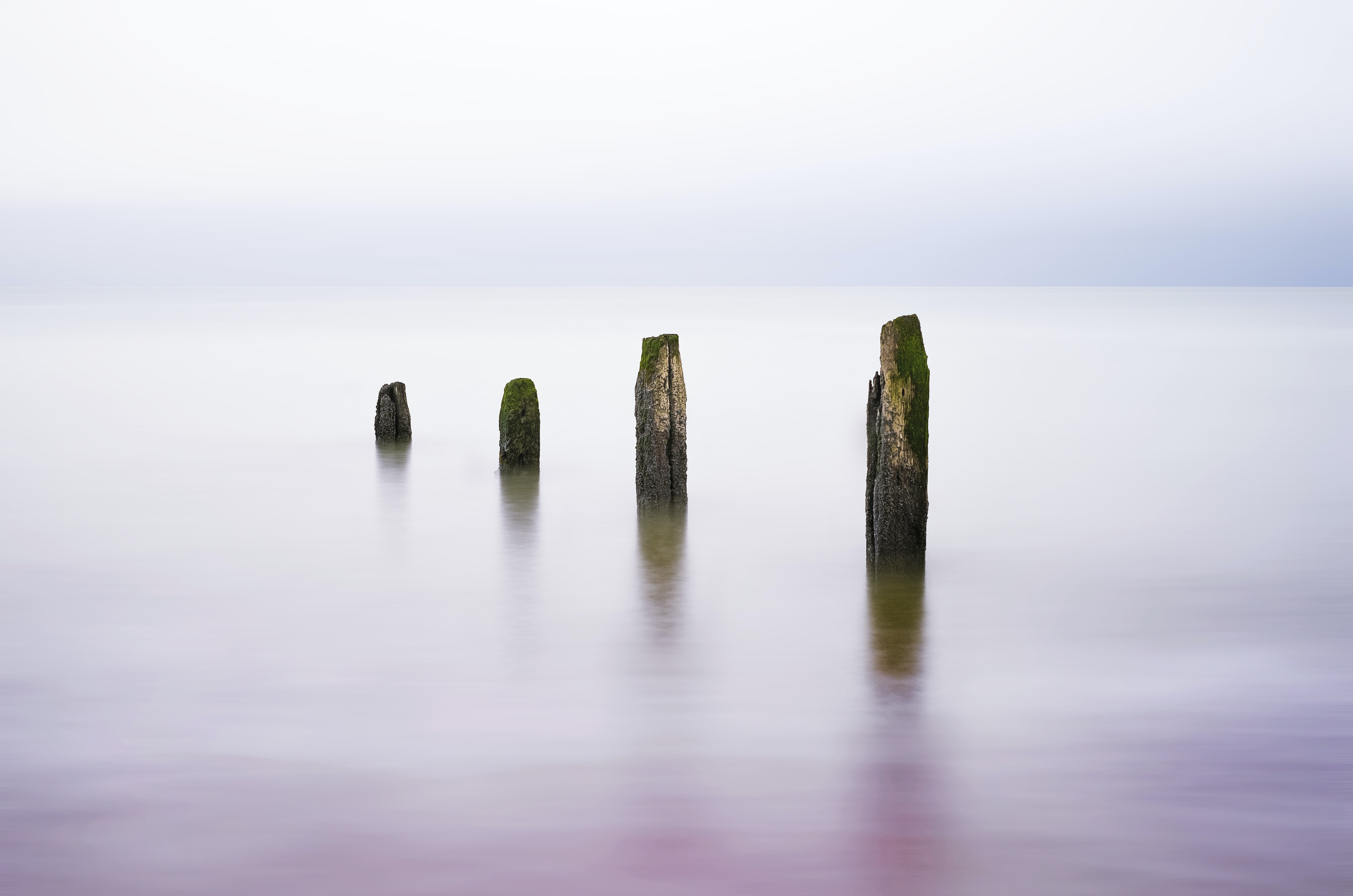 landscape photography of sea posts