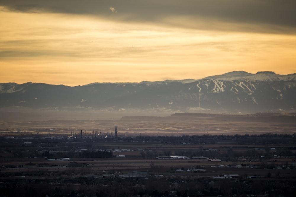 gray mountain during sunset