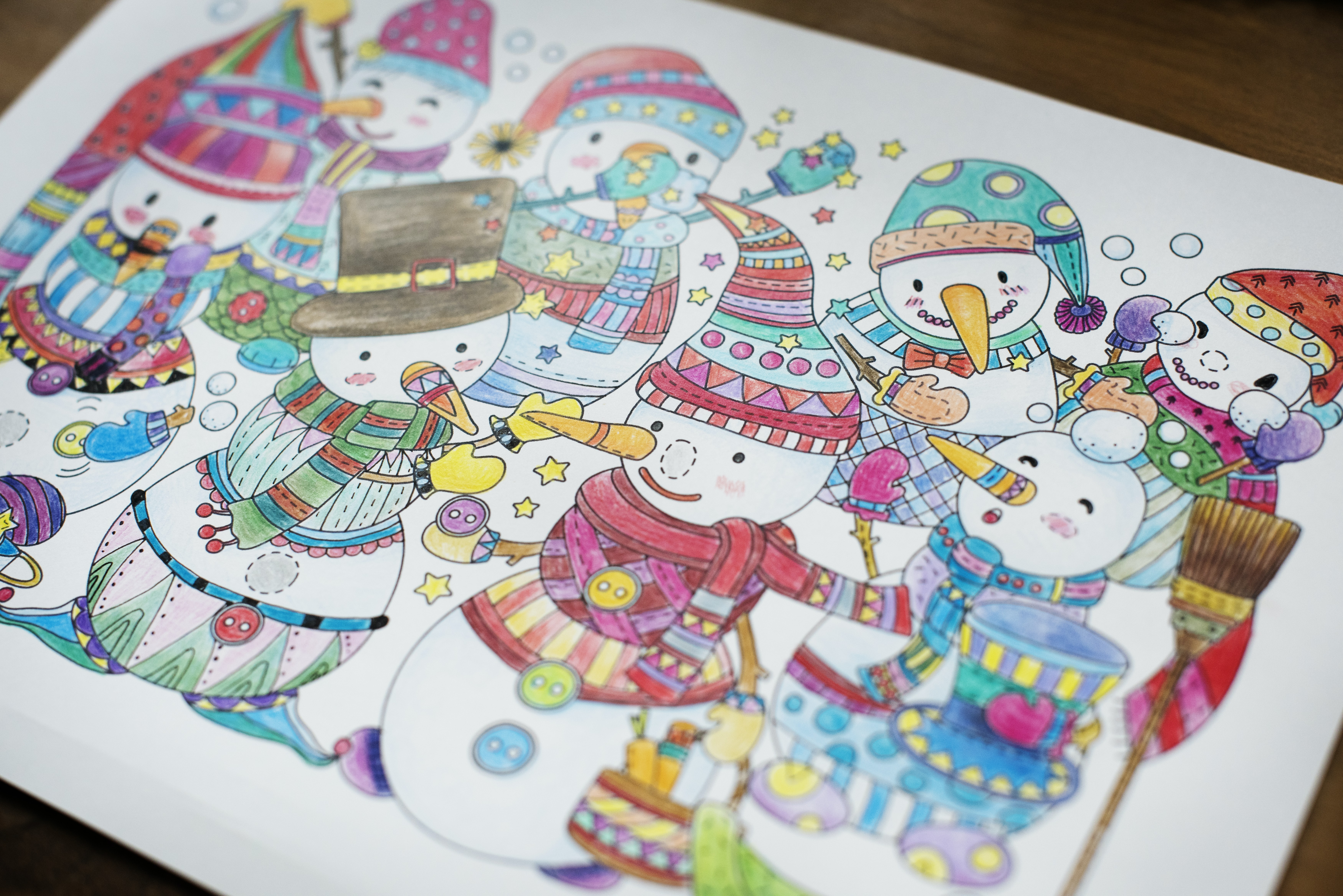 multicolored snowman drawing