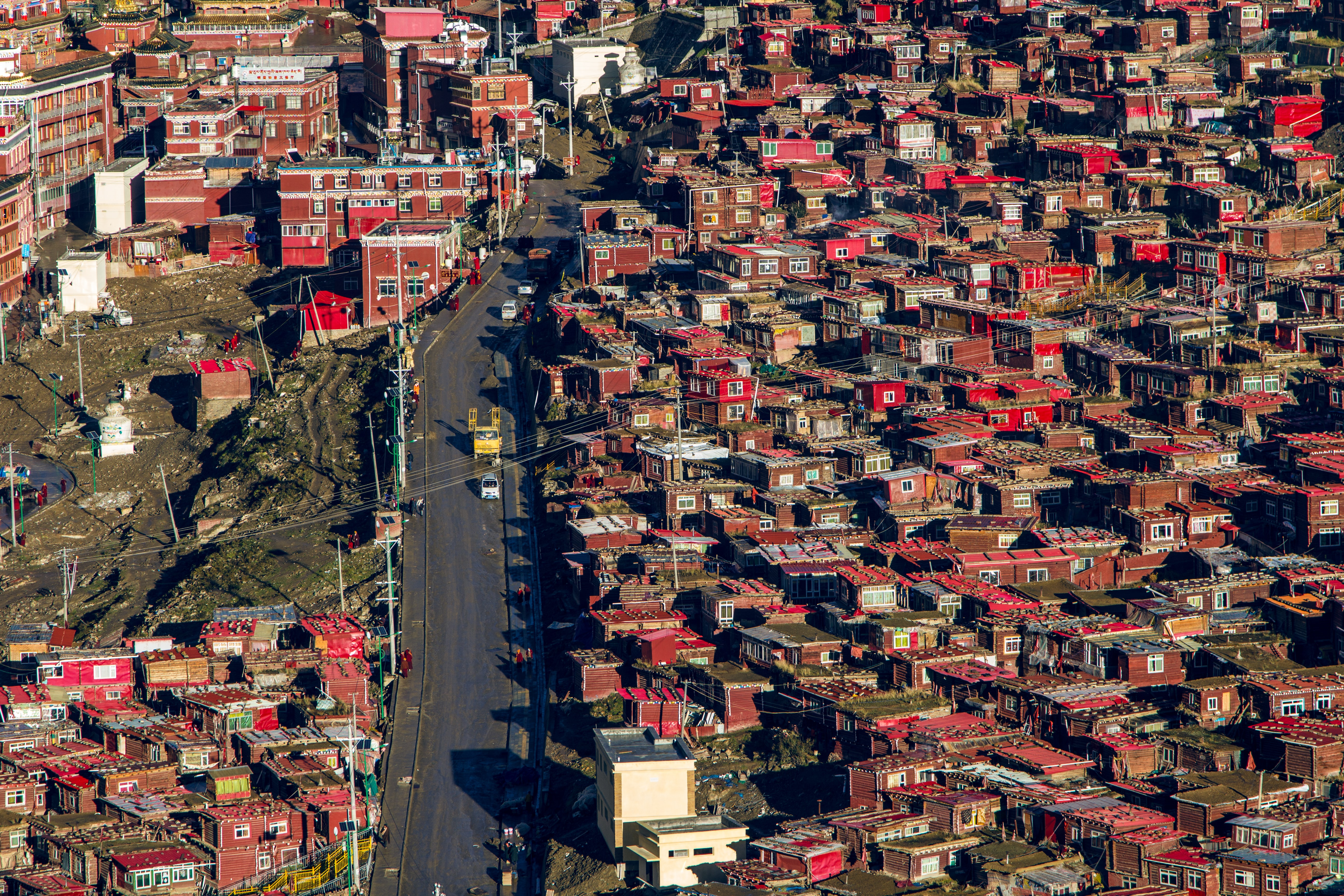 aerial view photography of red concrete houses