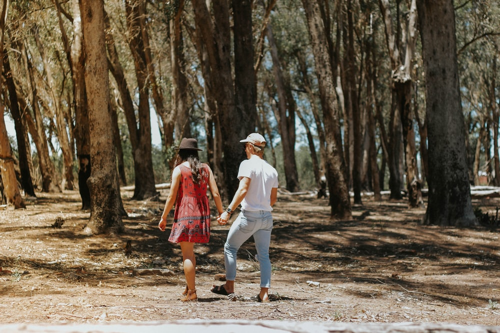 man and woman holding hands walking under the trees