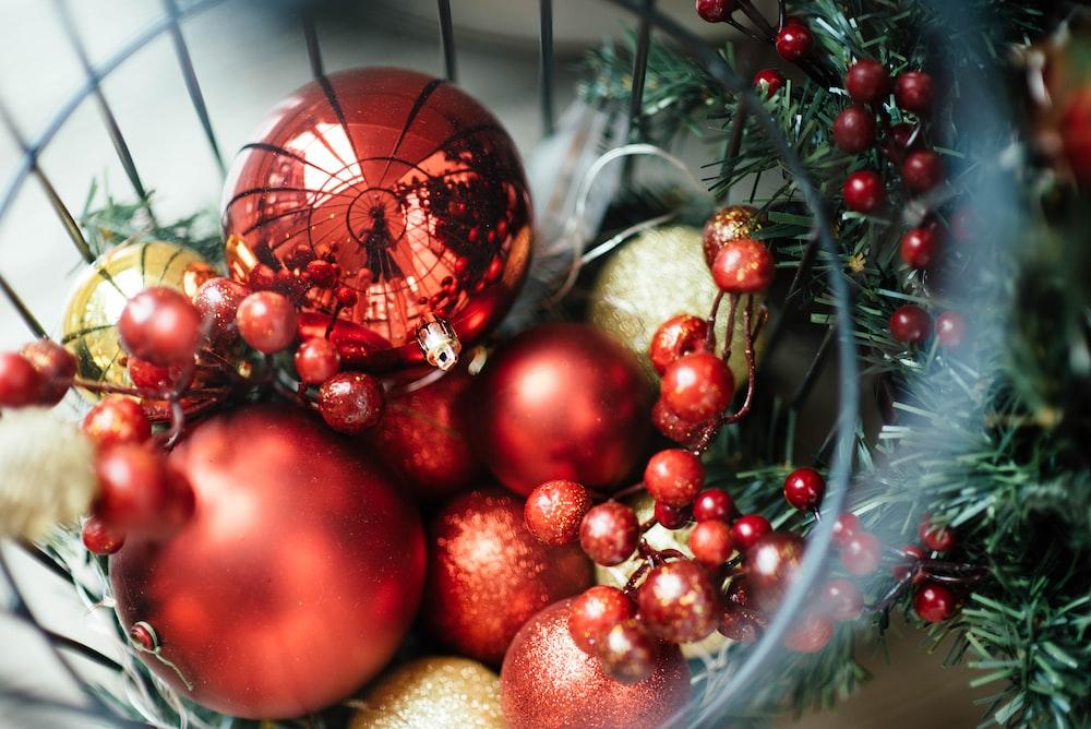 closeup photo of Christmas baubles
