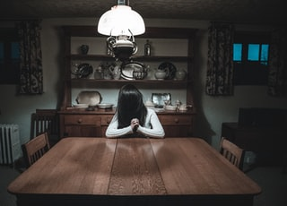 woman sitting in front of rectangular brown dining table