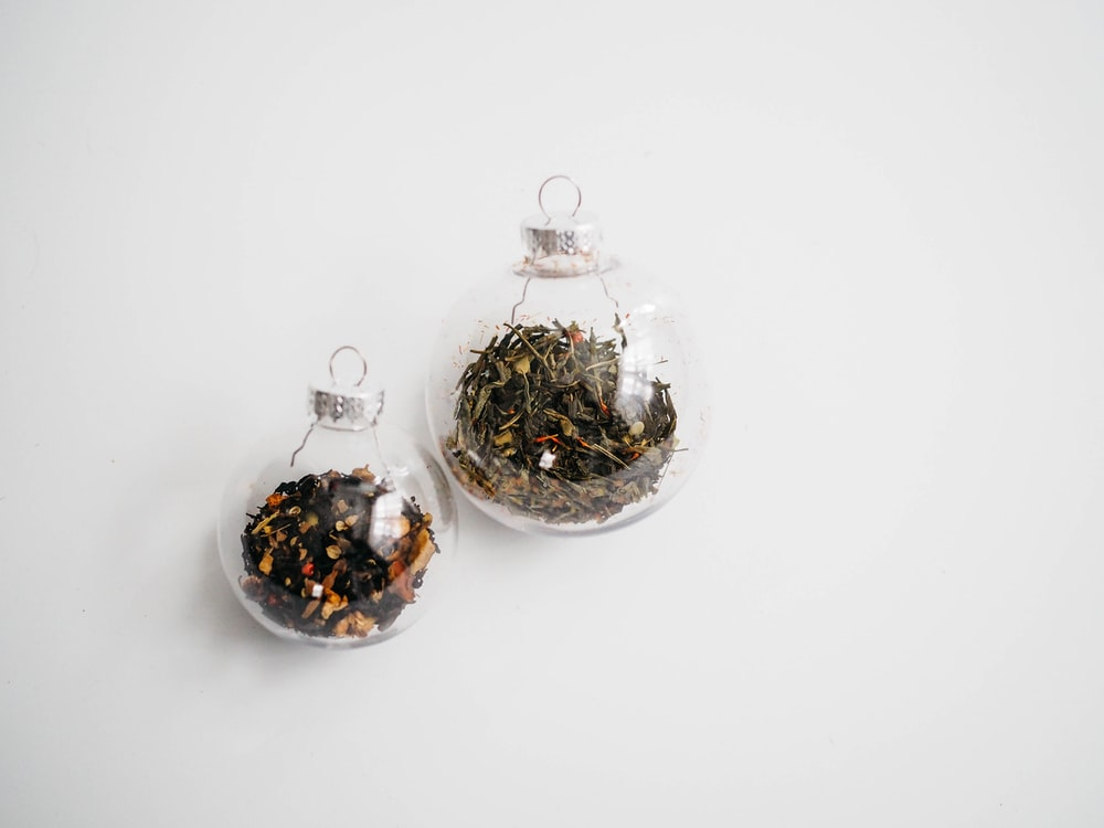 two clear glass baubles