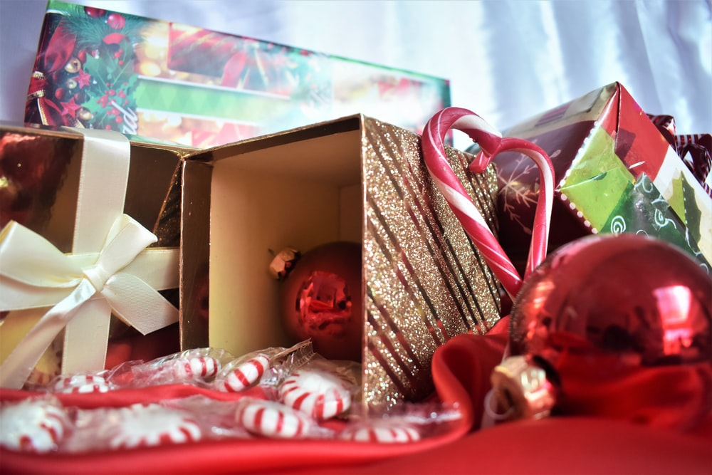 red bauble with box