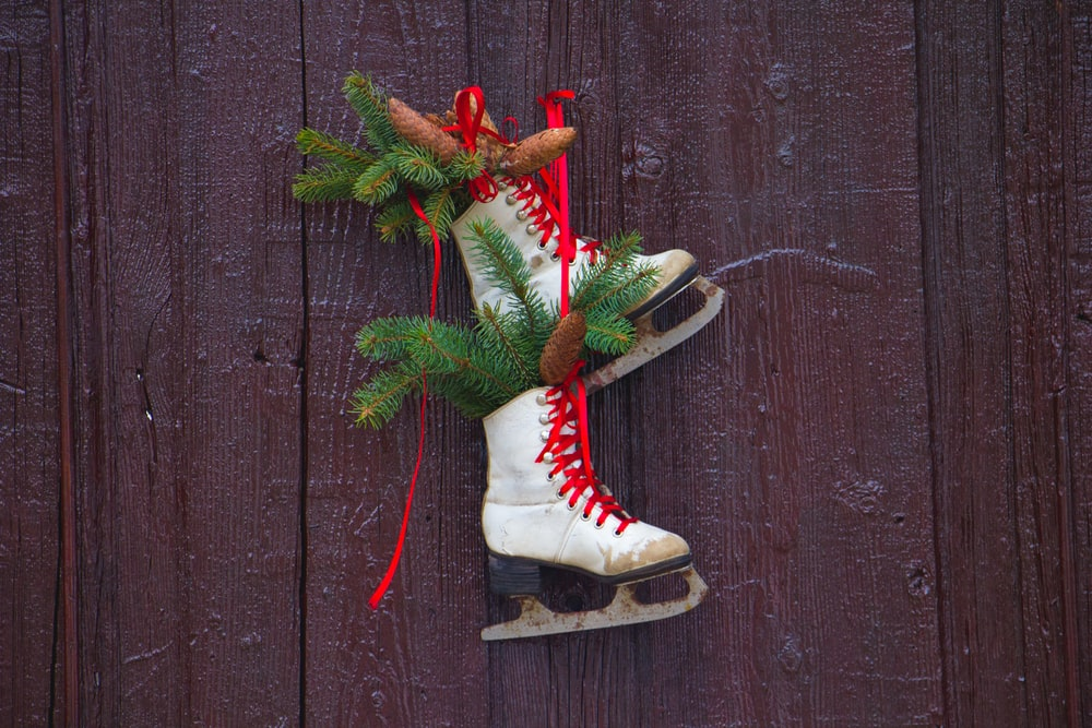pair of white ice skates wall decorations