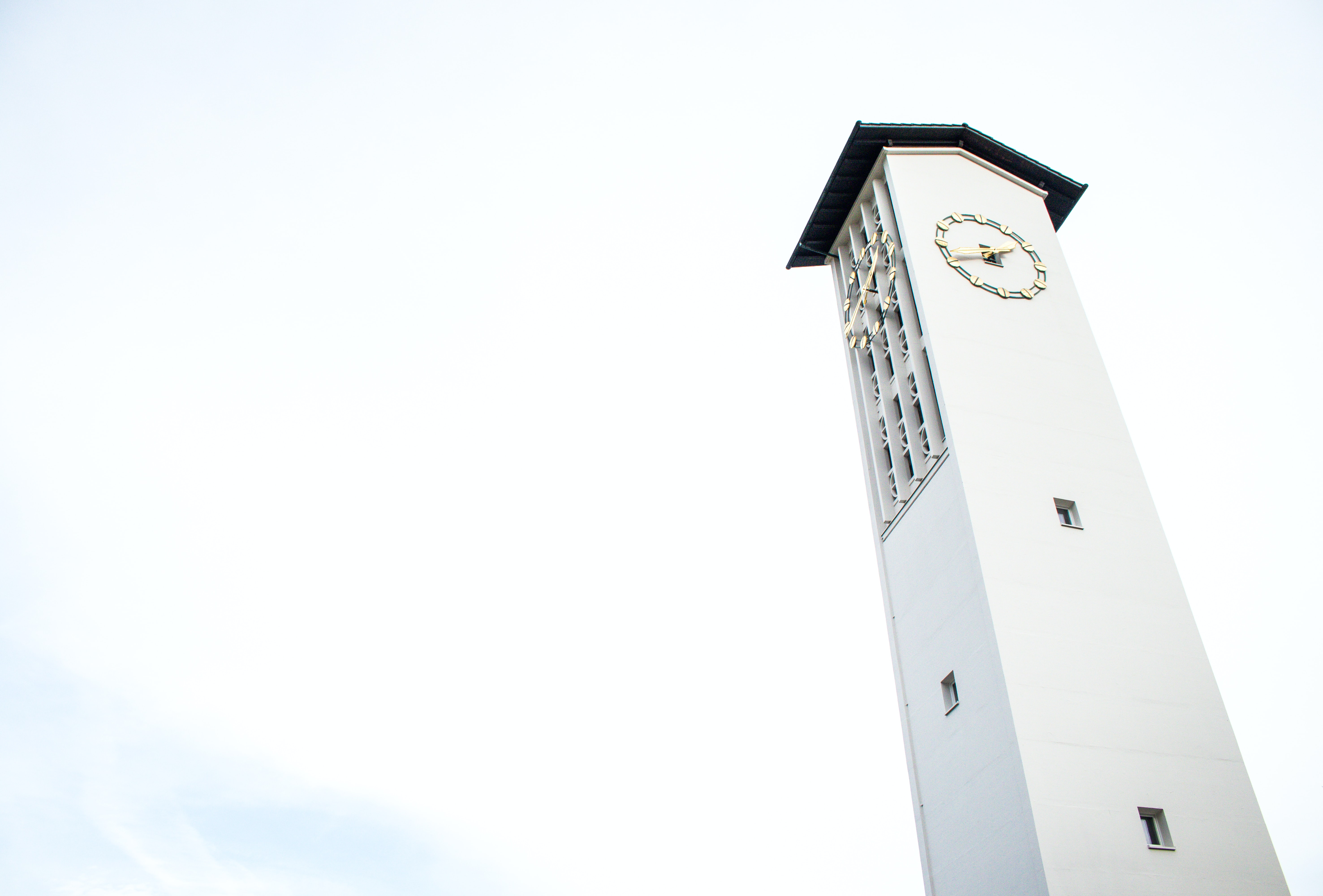 white building with clock