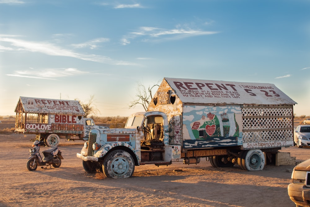 store truck parked on dessert field