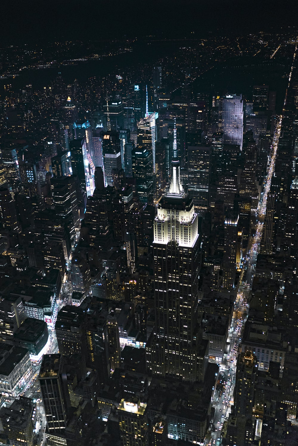 aerial view of city lights and