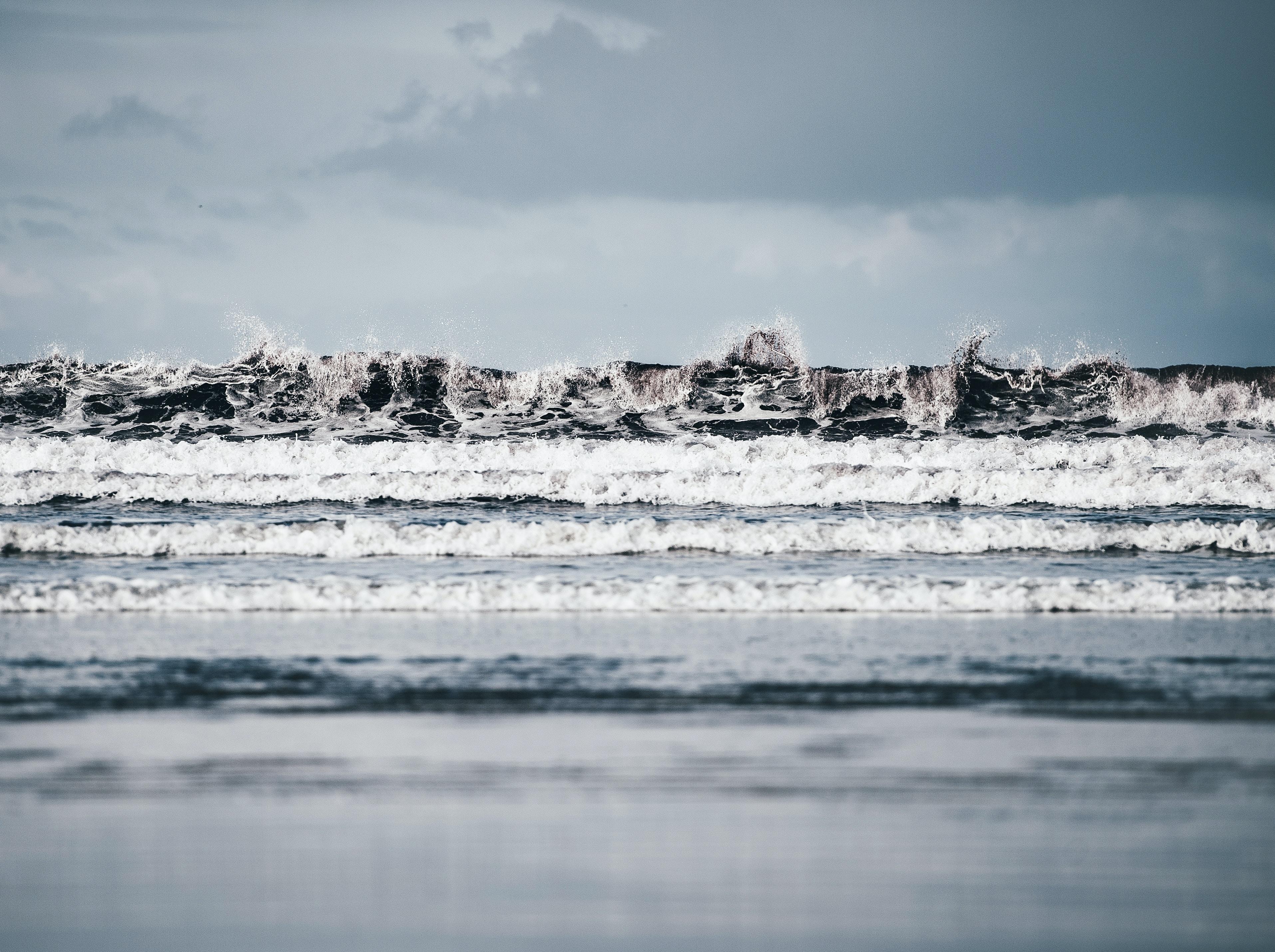 waves splashing on seashore