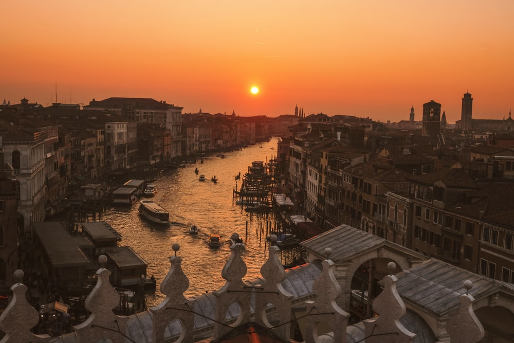 aerial view photography of Grand Canal, Venice under golden hour