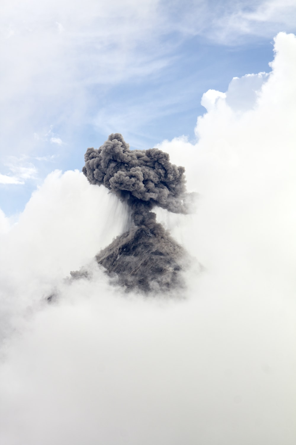time lapse photography of volcano eruption